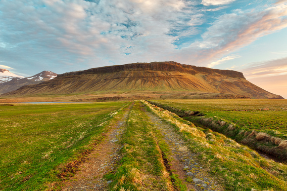 Iceland Sunset Tractor Trail